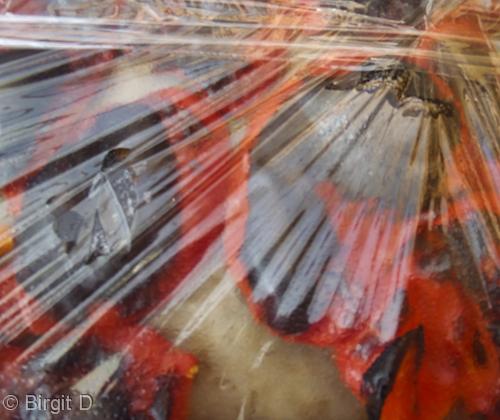 Backblech mit Frischhaltefolie abdecken