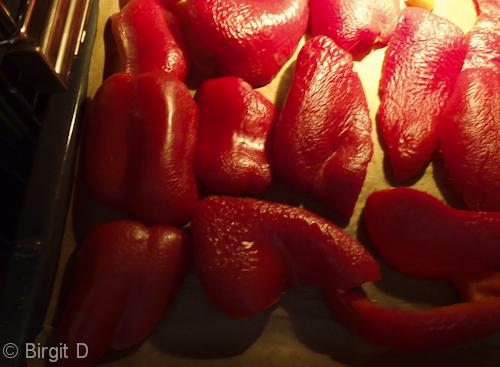 Paprika im Backofen rösten